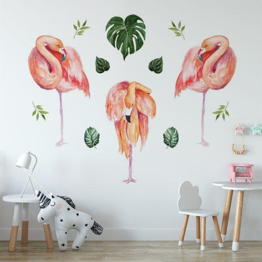 naklejka z flamingami do pokoju dziecka
