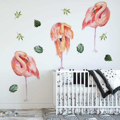 naklejka dziecięca z flamingami