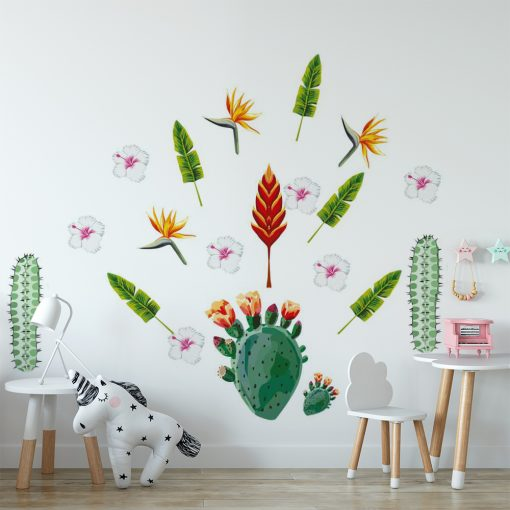 naklejka z tropikalną roślinnością do pokoju dziecka