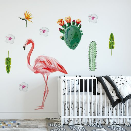 naklejka dziecięca z flamingiem i tropikalnymi roślinami