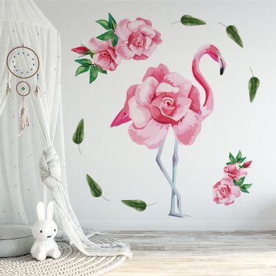 naklejka do pokoju dziecka z flamingiem