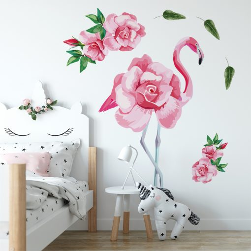naklejka z motywem flaminga do pokoju dziecka