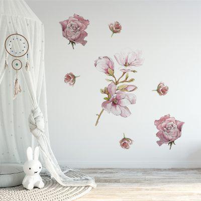 naklejka przedstawiająca różowe kwiaty do pokoju dziecka