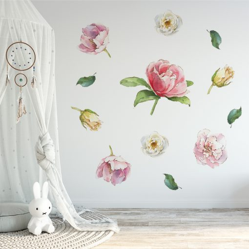 naklejka na ścianę do pokoju dziecka z kwiatami