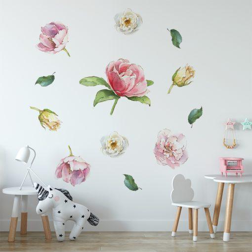 naklejka z kolorowymi kwiatami do pokoju dziecka