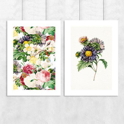 podwójny plakat z motywem kwiatów