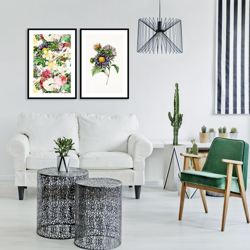 dwa plakaty z kwiatami