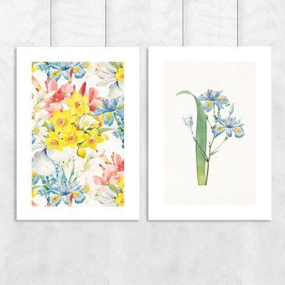 plakat dyptyk z motywem kwiatów