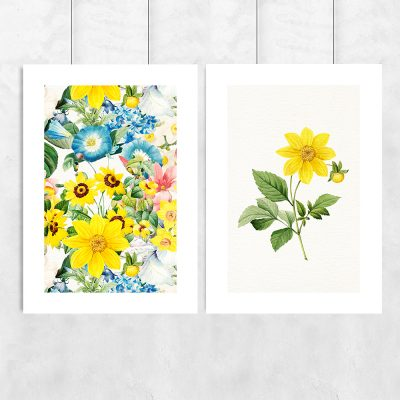 plakat podwójny z żółtymi kwiatami