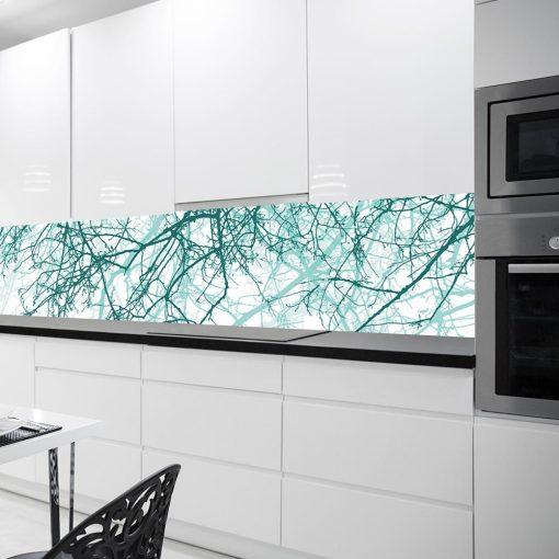 fototapeta do kuchni z turkusowymi gałęziami