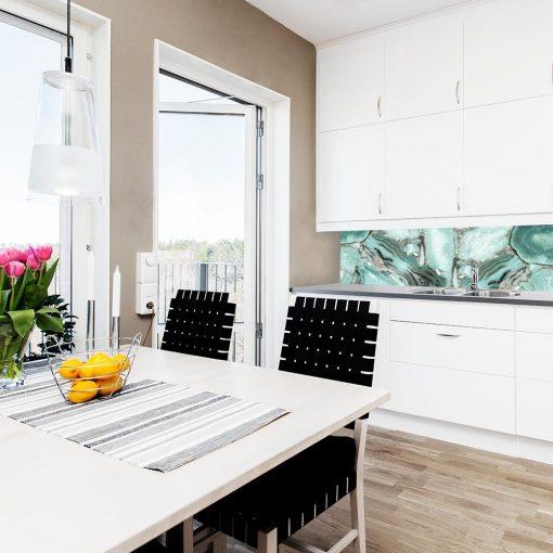 turkusowa fototapeta do kuchni