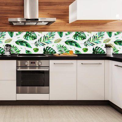 fototapeta kuchenna z tropikalnymi liśćmi