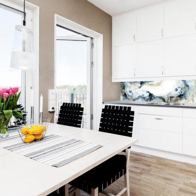 fototapeta na ścianę do kuchni z granatową abstrakcją