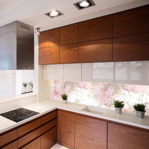 tapeta do kuchni z różowym wzorem