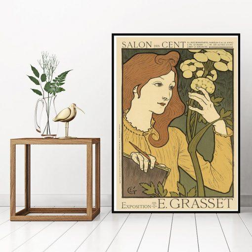 plakat kobieta z rośliną