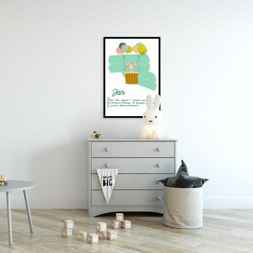 plakat z motywem myszki i baloników