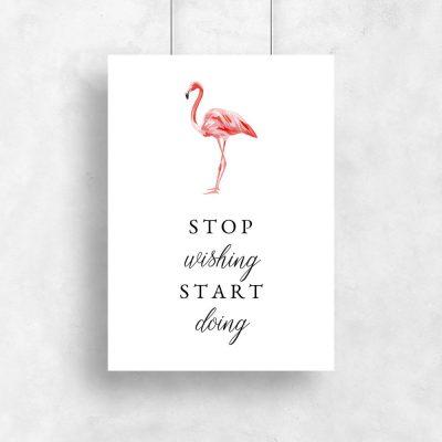 plakat z motywem flaminga