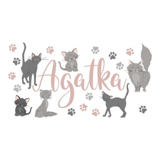 naklejka imienna z motywem kotów