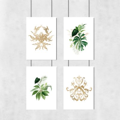 plakaty w zestawie liście i ornamenty