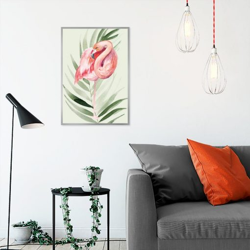 plakat flaming i liść palmy