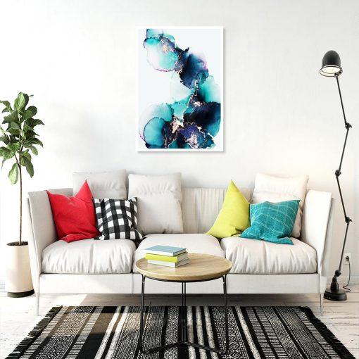 plakat w kolorze turkusowym