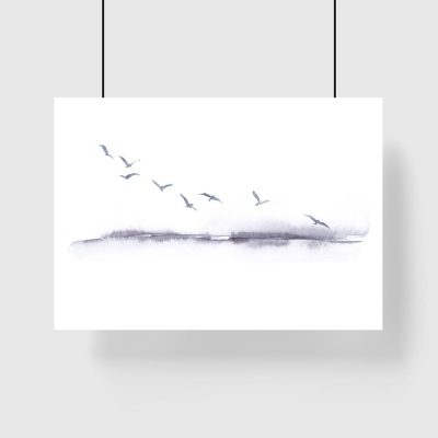 plakat lecące ptaki i krajobraz
