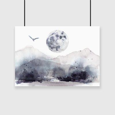 plakat księżyc i góry