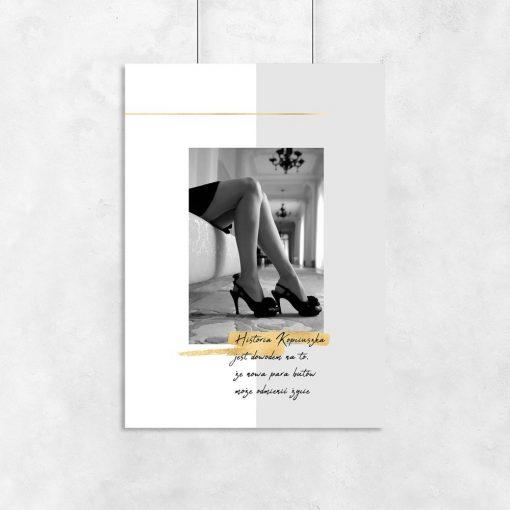 czarno-biały plakat z napisem o butach