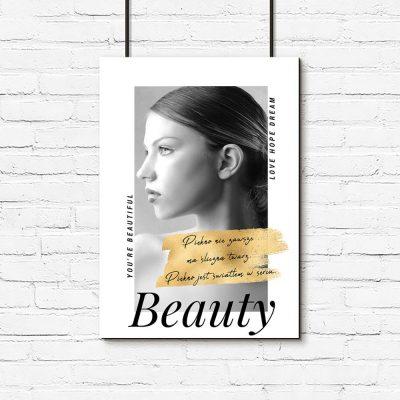 czarno-biały plakat z napisem o pięknie