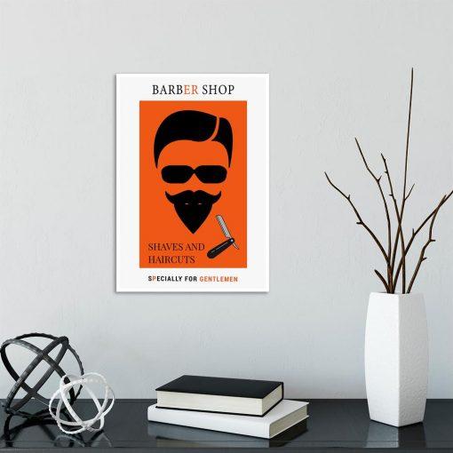 pomarańczowy plakat do barber shopu