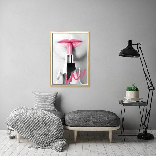 plakat z różowymi ustami