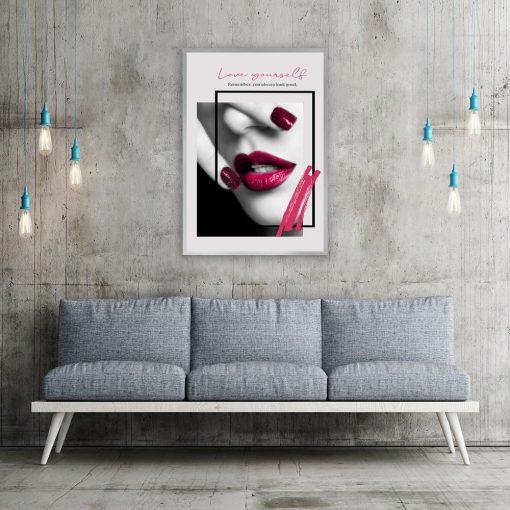 plakat z bordowymi ustami