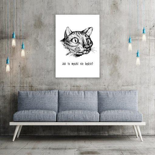 czarno-biały plakat z kotem