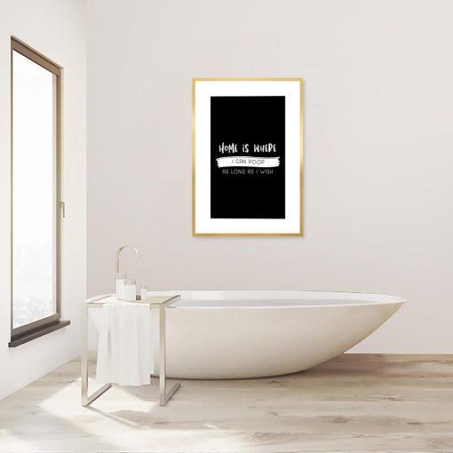 plakat na ścianę do łazienki z napisem