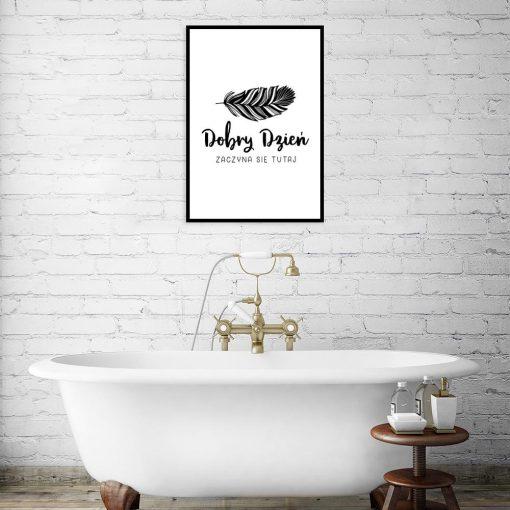 plakat z napisem do łazienki