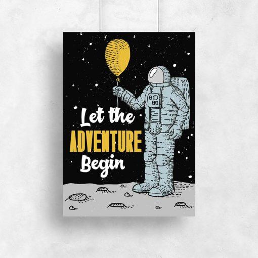 plakat z ilustracją kosmonauty z balonem