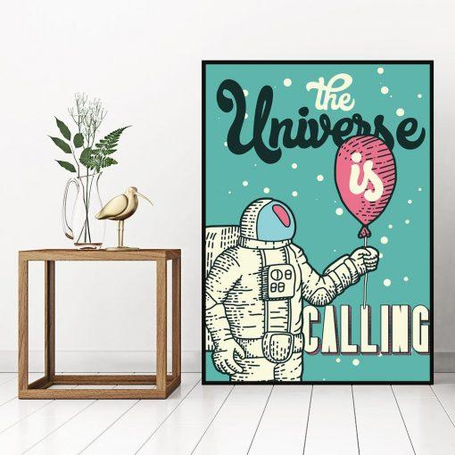 plakat przedstawiający kosmonautę z balonem