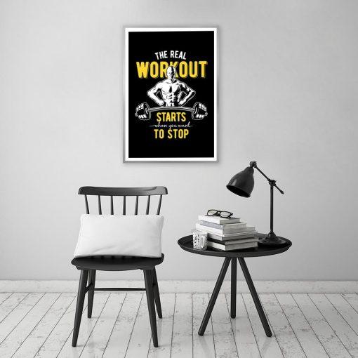 plakat na siłownie z napisem motywacyjnym