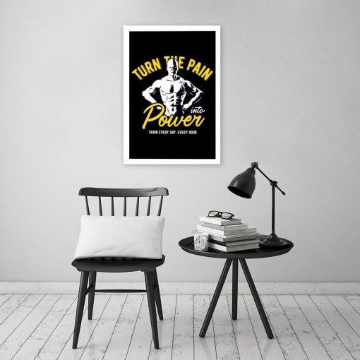 plakat z motywacją i kulturystą