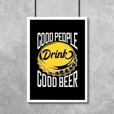 plakat przedstawiający kapsel od piwa