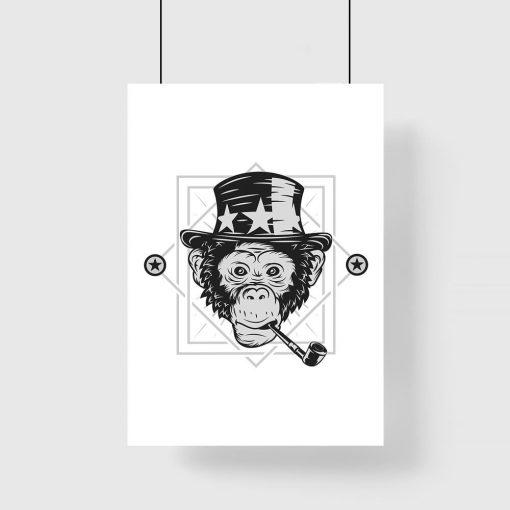 plakat małpa w kapeluszu w gwiazdki