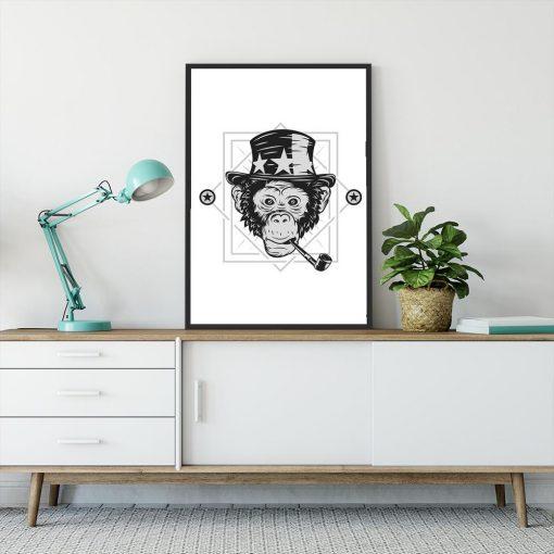 plakat z małpą w kapeluszu