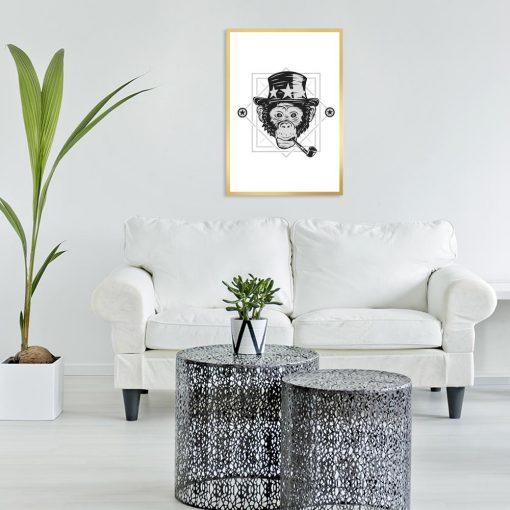 plakat z małpą z fajką