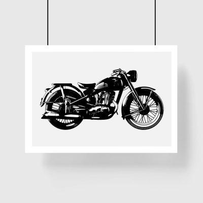 czarno-biały plakat z motocyklem