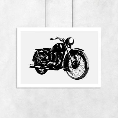 plakat przedstawiający stary motocykl