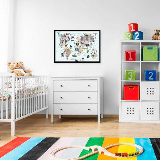 plakat dla dziecka z mapą świata