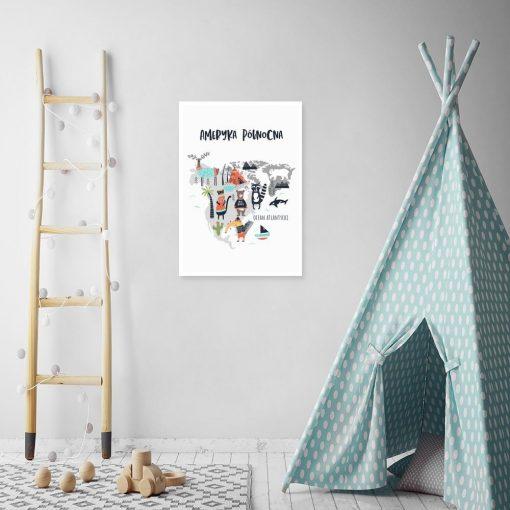 plakat na ścianę do pokoju dziecka z mapą