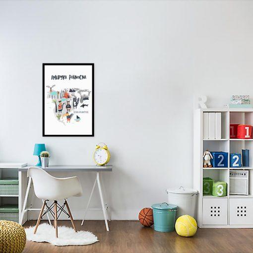 plakat z mapą do pokoju dziecka
