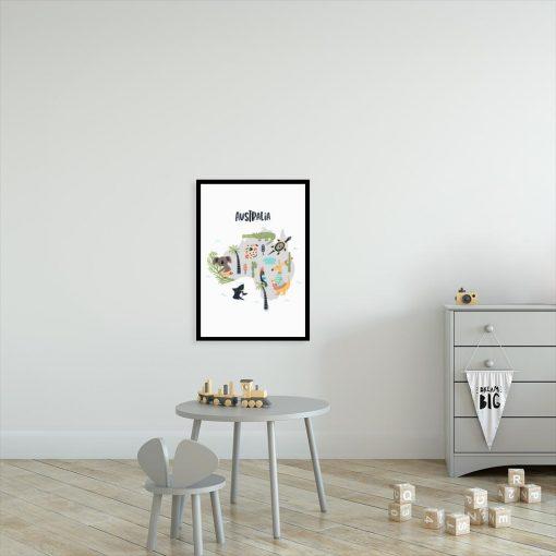 plakat dziecięcy z mapą Australii