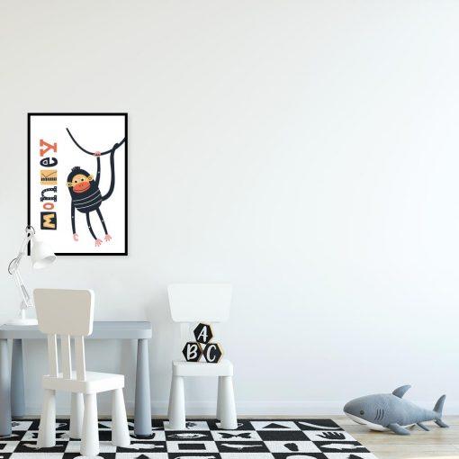 plakat dla dziecka z napisem i małpką